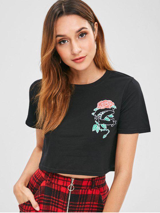 Bedrucktes Jersey-T-Shirt mit Rosenprint - Schwarz L