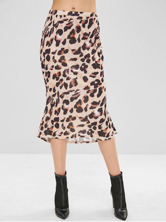 Hohe Taille Leopard High Low Rock - Vanille M