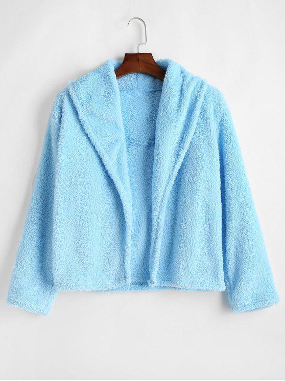 Flauschige Teddyjacke mit offener Vorderseite - Robin Ei Blau L