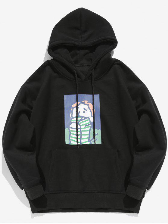 Cartoon Printed Känguru Tasche Pullover Hoodie - Schwarz XL