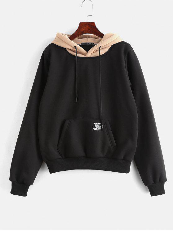 womens ZAFUL Pouch Pocket Fleece Pullover Hoodie - BLACK L