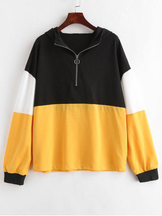 women's ZAFUL Color Block Pullover Hoodie - BRIGHT YELLOW M
