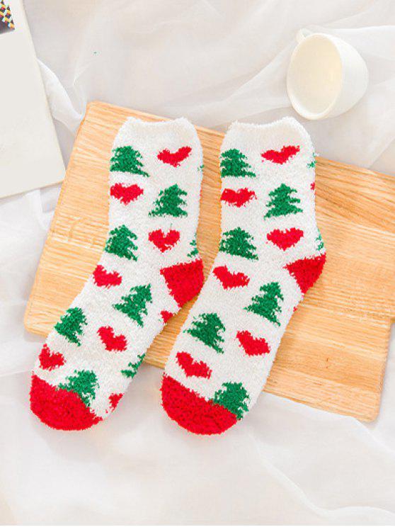 Chaussettes Chaudes Fourrées Thème de Noël Père Noël Imprimé 12 Paires - Multi-A