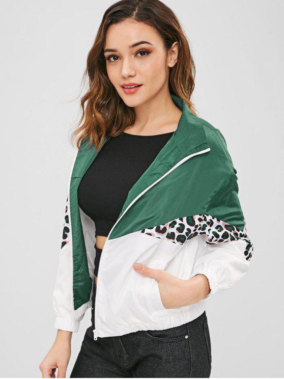 womens ZAFUL Color Block Loose Leopard Jacket - MULTI S