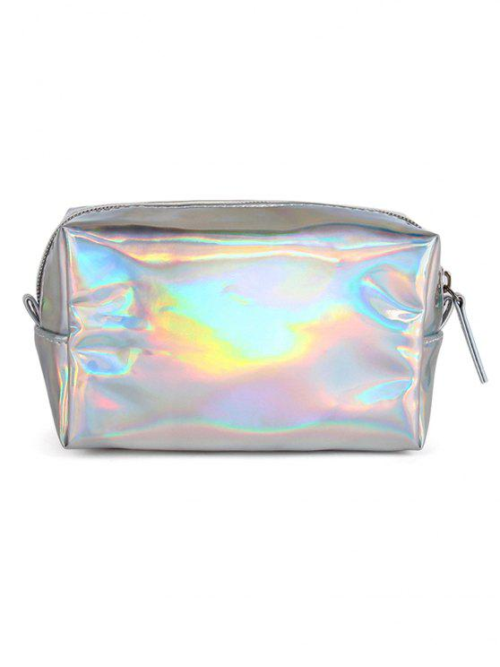 women Portable Color Laser Shiny Cosmetic Pouch Bag - SILVER