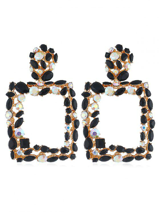 latest Sparkling Artificial Crystal Design Hollow Earrings Stud - BLACK