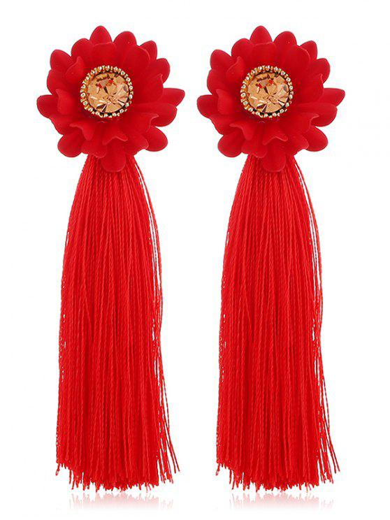 online Artificial Crystal Inlaid Tassel Earrings - RED