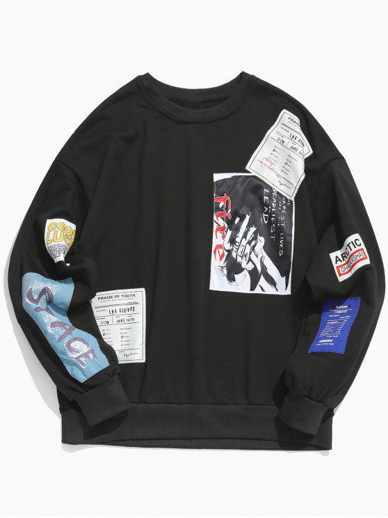 shop Crew Neck Applique Embellished Pullover Sweatshirt - BLACK M