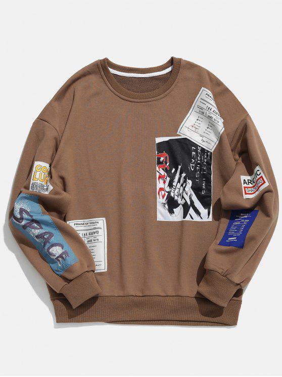 Sweat-shirt à col brodé et appliqué - Café L