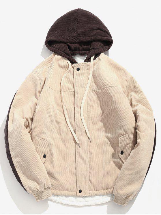 shops Contrast Letter Corduroy Quilted Jacket - LIGHT KHAKI XL