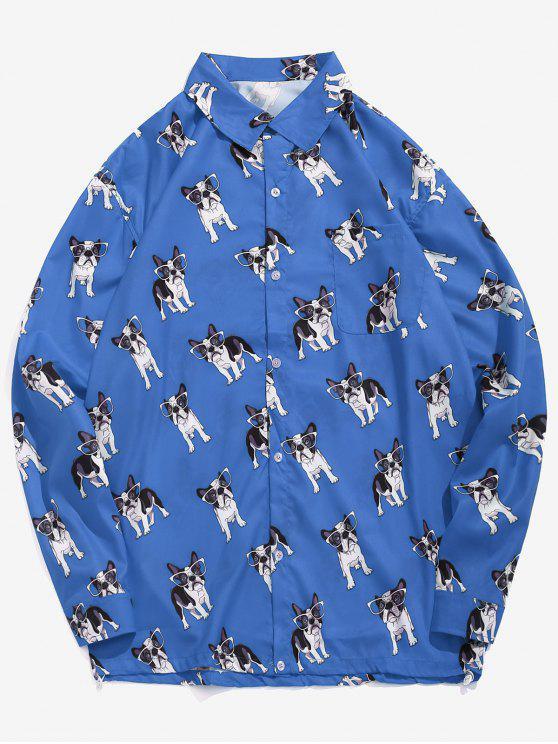 Camicia Casuale Con Stampa Cani Divertenti - Blu XL