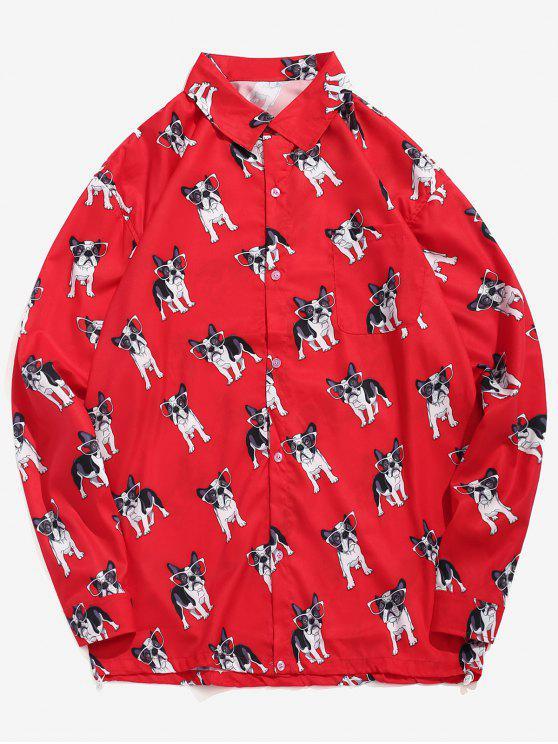 Chemise décontractée à imprimé chiot drôle - Rouge L
