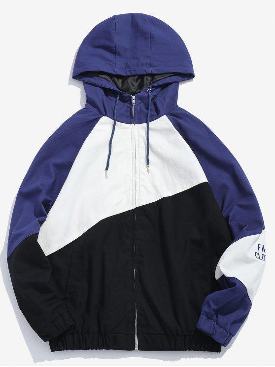 women Contrast Drawstring Hooded Jacket - BLACK M