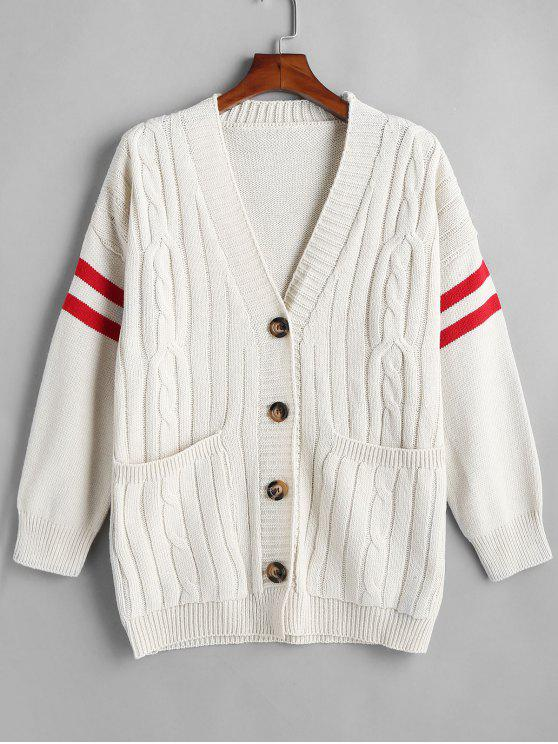 f08b86a8109 36% OFF  2019 Cable Knit Stripe Sleeve Preppy Cardigan In WHITE