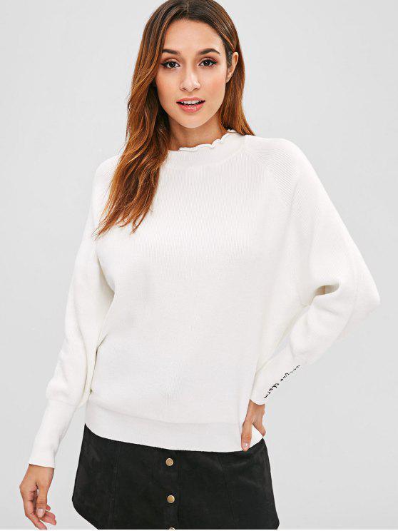 Pull Manchette Brodée à Manches Raglan - Blanc Taille Unique