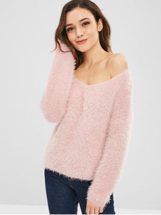 Pull Texturé à Epaule Dénudée - Rose Léger  Taille Unique