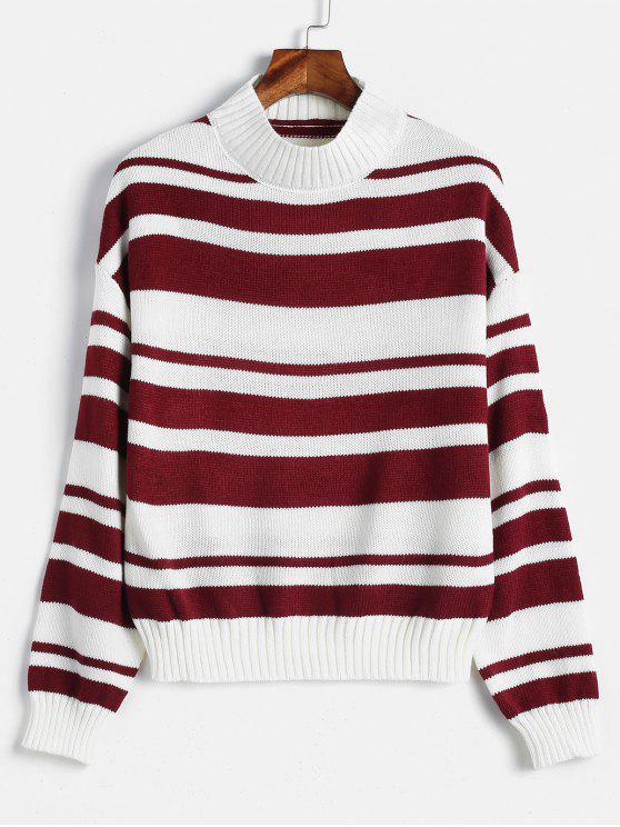 Полосатый цветный пуловерный свитер - Многоцветный Один размер