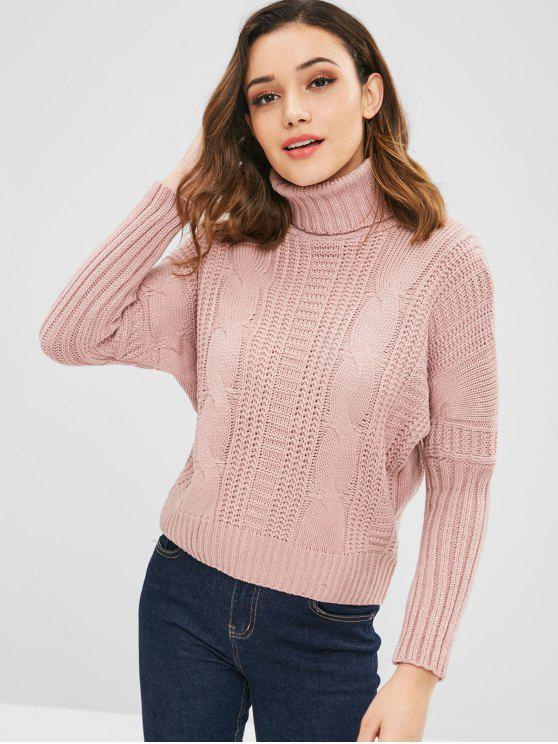 unique Turtleneck Cable Knit Dolman Sweater - LIGHT PINK ONE SIZE