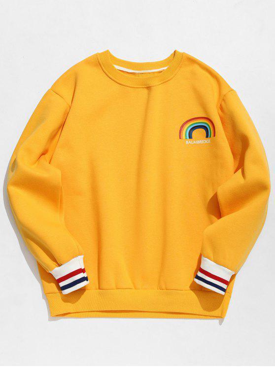 Sweat-shirt Pull-over Arc-en-ciel Imprimé en Laine - Jaune Clair XL