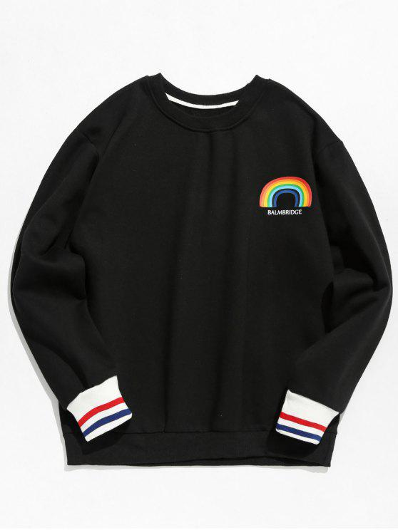 Sweat-shirt Pull-over Arc-en-ciel Imprimé en Laine - Noir M