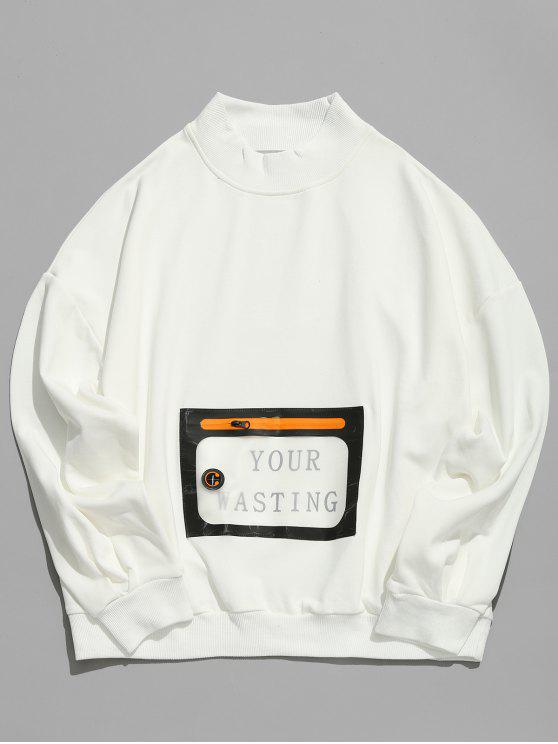 Sweat-shirt Pull-over avec Poche Kangourou en PU - Blanc 2XL