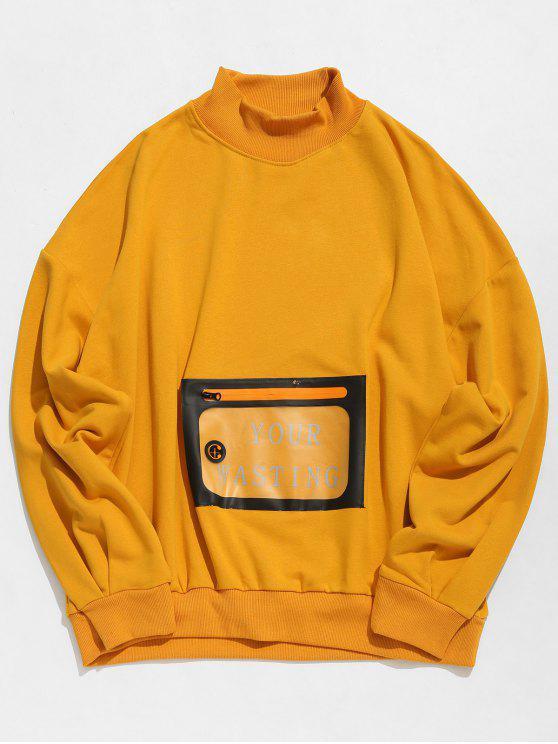 Sweat-shirt Pull-over avec Poche Kangourou en PU - Jaune d'Abeille XL