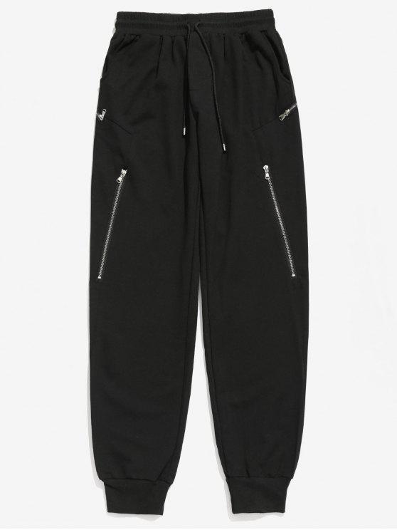 shop Zipper Decoration Drawstring Jogger Pants - BLACK L