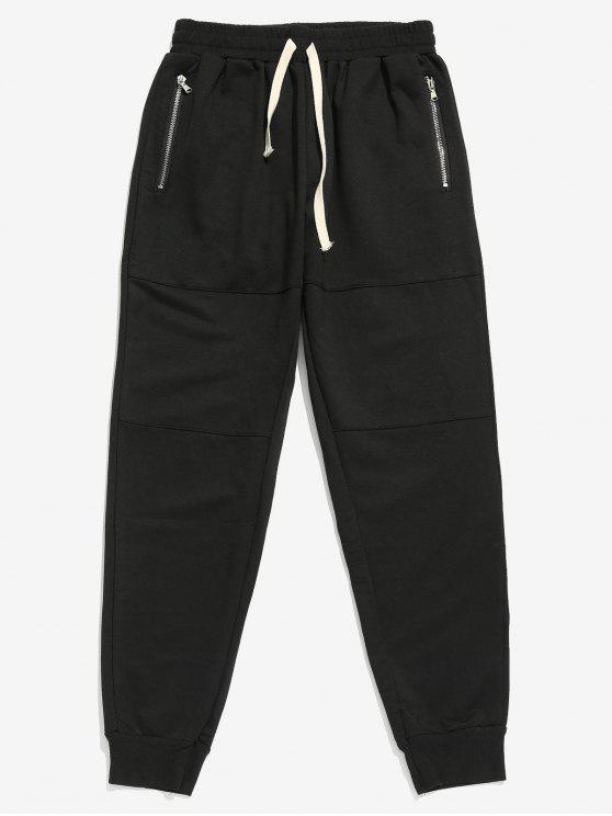 Pantaloni Da Jogging Con Tasche E Cerniera Laterale - Nero XL