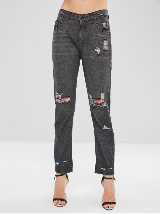 Jeans Strappati A Vita Media Con Tasca - Grigio Carbone 2XL