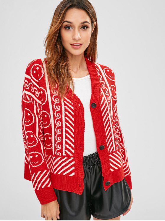 0890bf60ae 32% OFF  2019 Face Graphic Oversized Cardigan In RED ONE SIZE