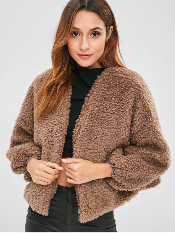 outfit Open Faux Shearling Teddy Coat - COFFEE ONE SIZE
