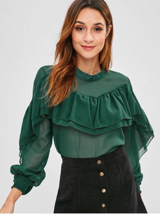 Blusa superpuesta con volantes en capas - Verde de Tortuga Marina S