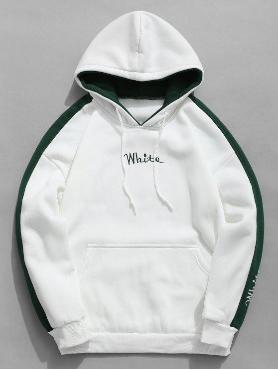 fashion Color Clock Letter Printed Pullover Hoodie - WHITE M