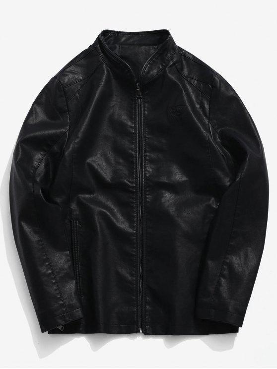 Manteau Zippé Triangle Imprimé Zippé avec Poches - Noir XS