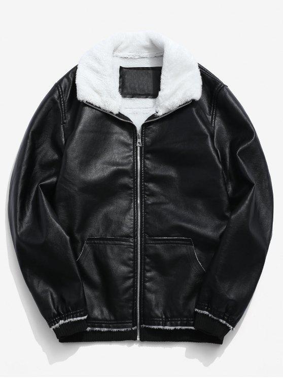trendy Fluffy Neck Pocket Casual PU Zip Jacket - BLACK L