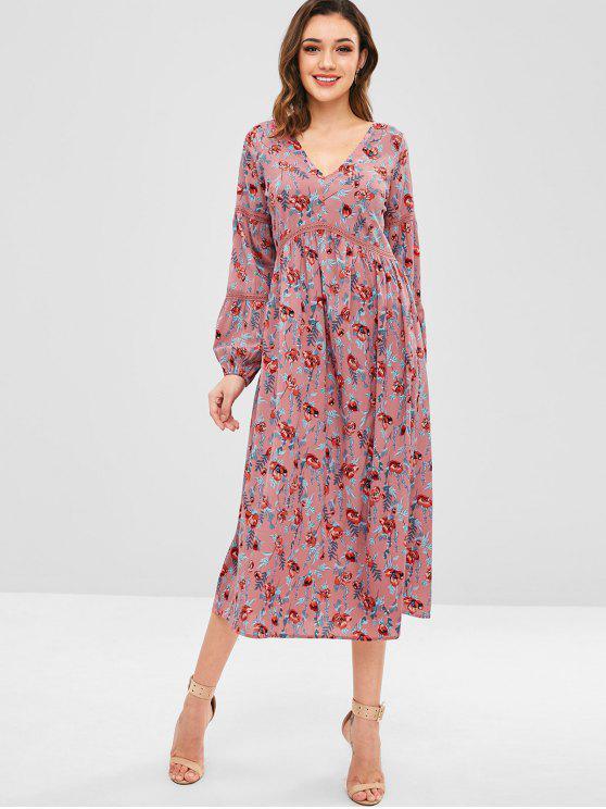 fancy ZAFUL Midi Floral Long Sleeve Dress - MULTI S
