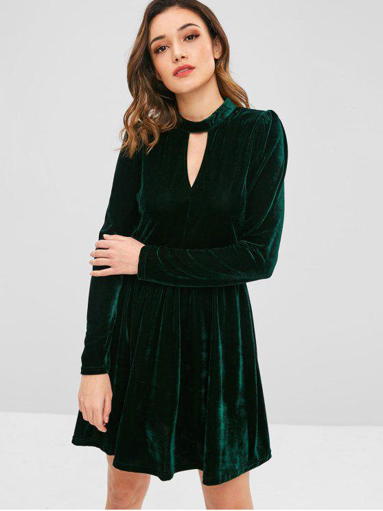 ladies ZAFUL Velvet A Line Keyhole Dress - DARK GREEN S