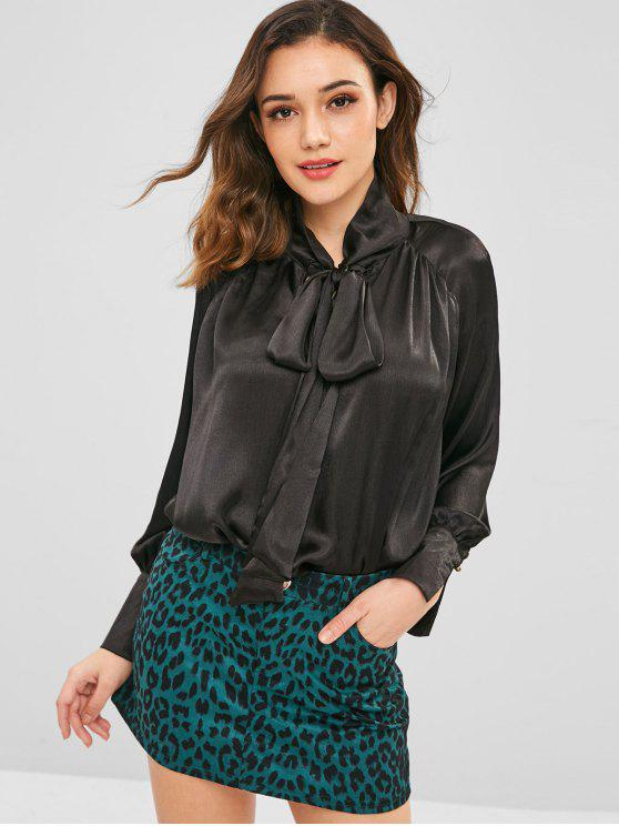 latest ZAFUL Plain Loose Bowtie Blouse - BLACK XL
