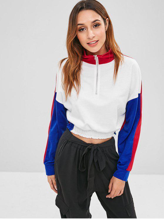 womens ZAFUL Half Zip Three Tone Sweatshirt - MULTI S