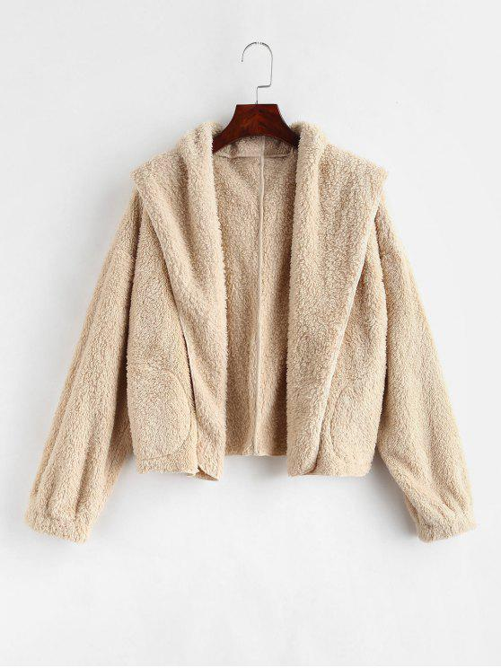 ladies ZAFUL Open Front Fluffy Teddy Jacket - CHAMPAGNE S