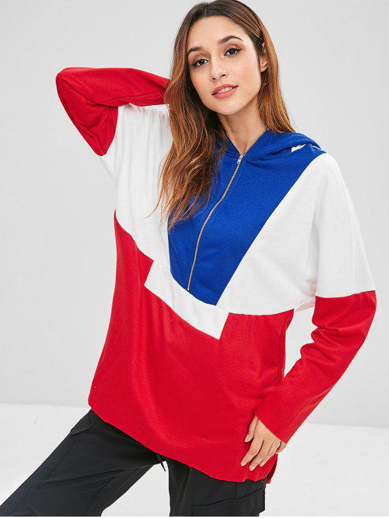 chic ZAFUL Zip Front Slit Contrast Hoodie - MULTI S