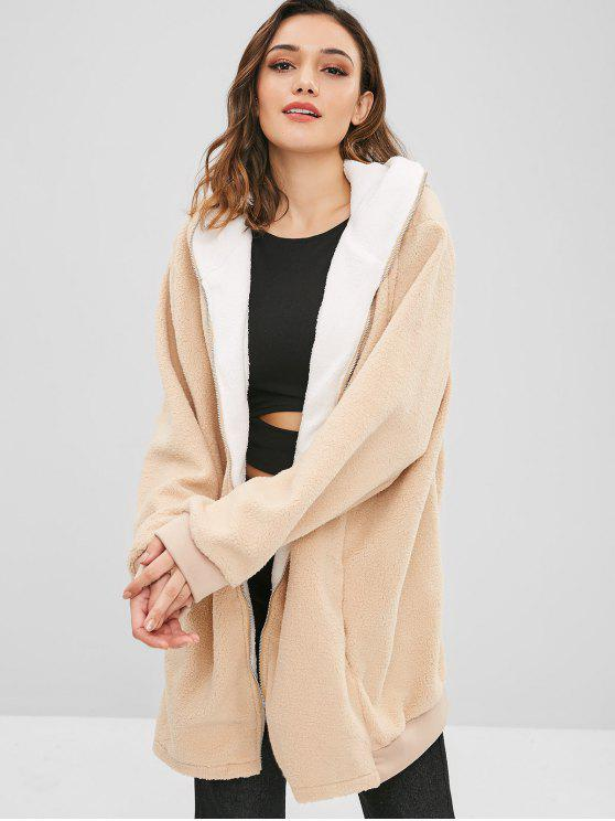 online Hooded Loose Fit Long Fuzzy Coat - APRICOT 2XL
