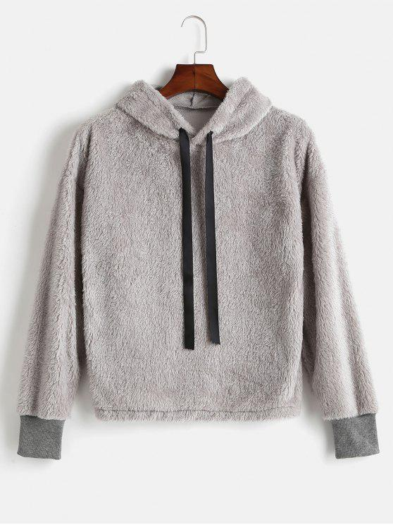 outfits Drawstring Fluffy Faux Shearling Hoodie - GRAY CLOUD L