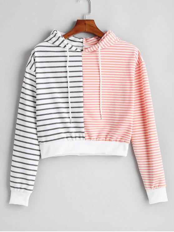 womens Drawstring Stripes Hoodie - MULTI M