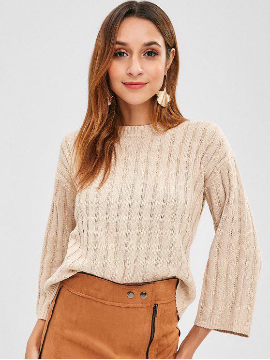Wide Sleeve Ribbed Sweater - Blanchierte Mandel Eine Größe
