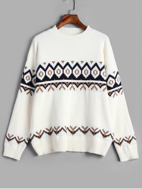 Suéter Geométrico de Hombro Caído - Blanco Única Talla