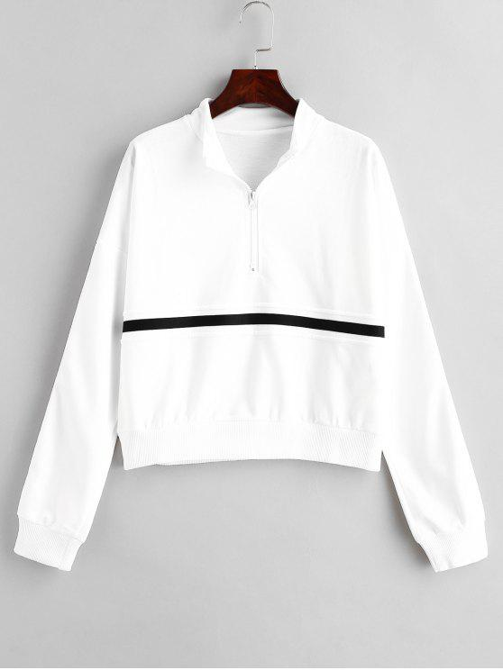 Camisola de meia zip Stripe - Branco M