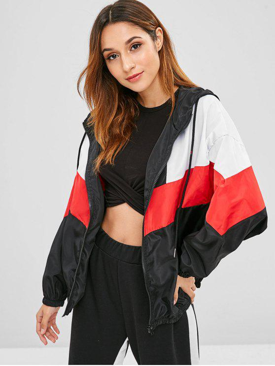 shop Color Block Hooded Jacket with Zip - MULTI S