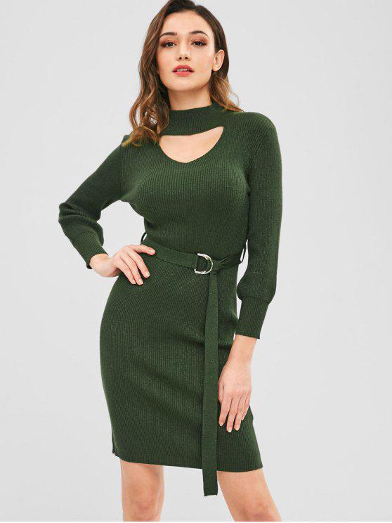 fancy ZAFUL Bodycon Cut Out Sweater Dress with Belt - DARK GREEN ONE SIZE
