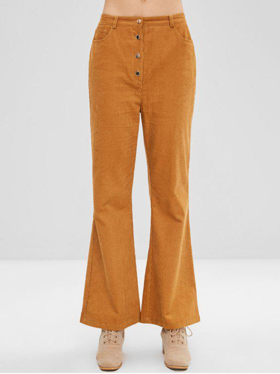 affordable ZAFUL Button Fly Corduroy Wide Leg Pants - LIGHT BROWN XL